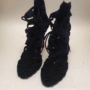 Zara Womens Navy & Black Strappy High Heels